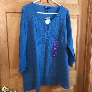 Beautiful blue XXL v neckline blouse